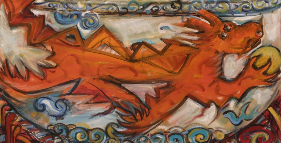Glücksdrache in Orange<br>(38x 68cm)